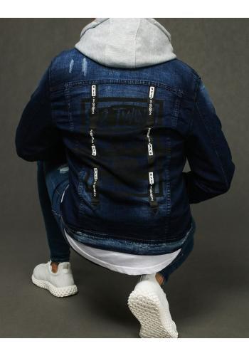 Modrá riflová bunda s potiskem na zádech pro pány
