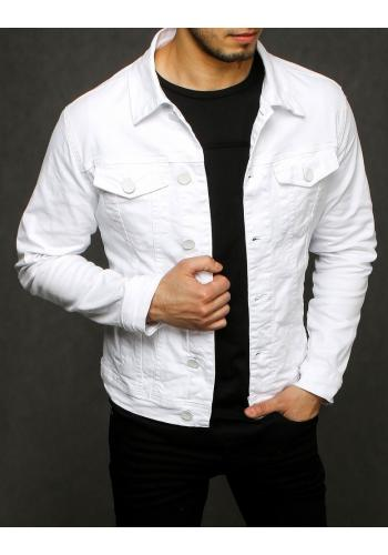 Riflová pánská bunda bílé barvy se zapínáním na knoflíky