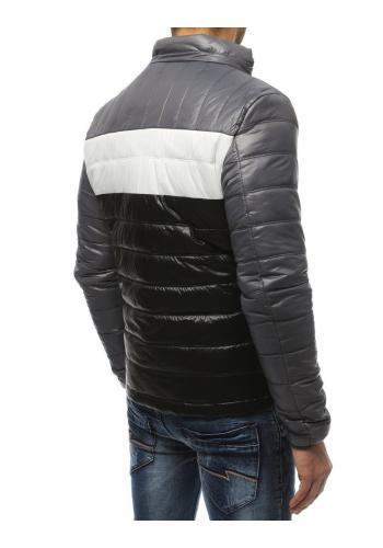 Šedá prošívaná bunda na přechodné období pro pány