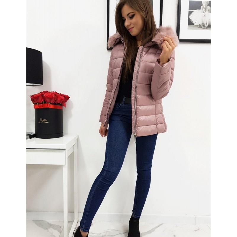Dámská prošívaná bunda na zimu v růžové barvě