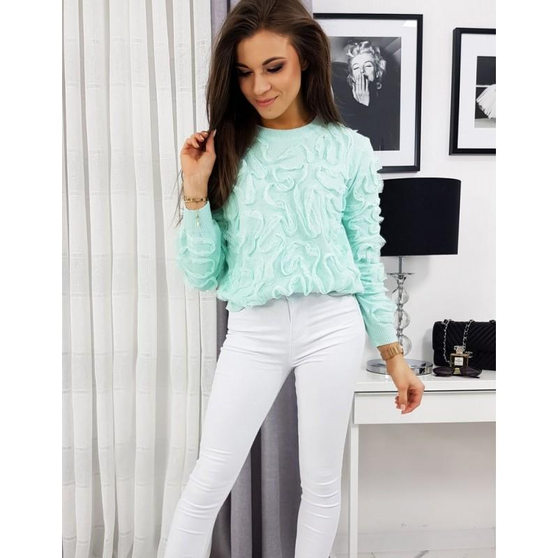 Dámský elegantní svetr v mátové barvě