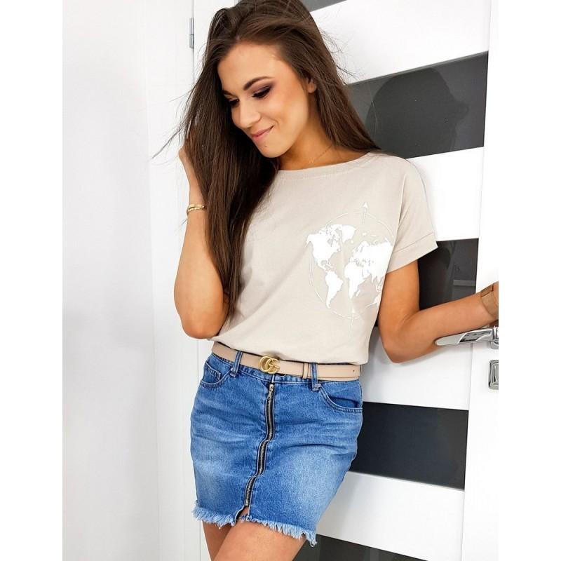 Béžové klasické tričko s potiskem pro dámy