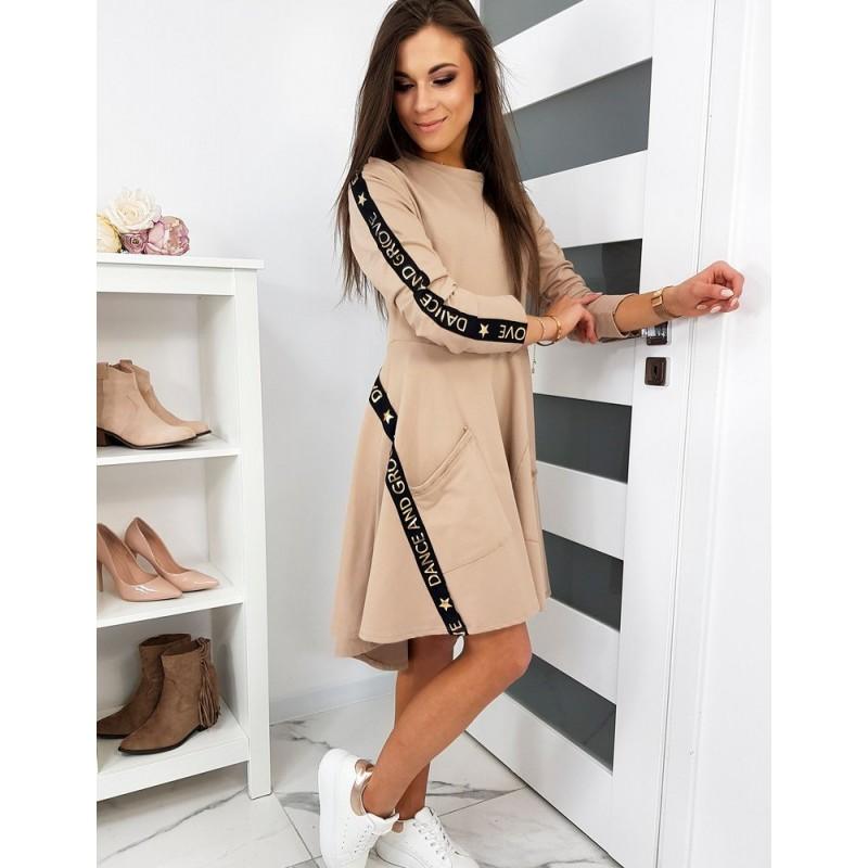 Béžové stylové šaty s kapsami pro dámy