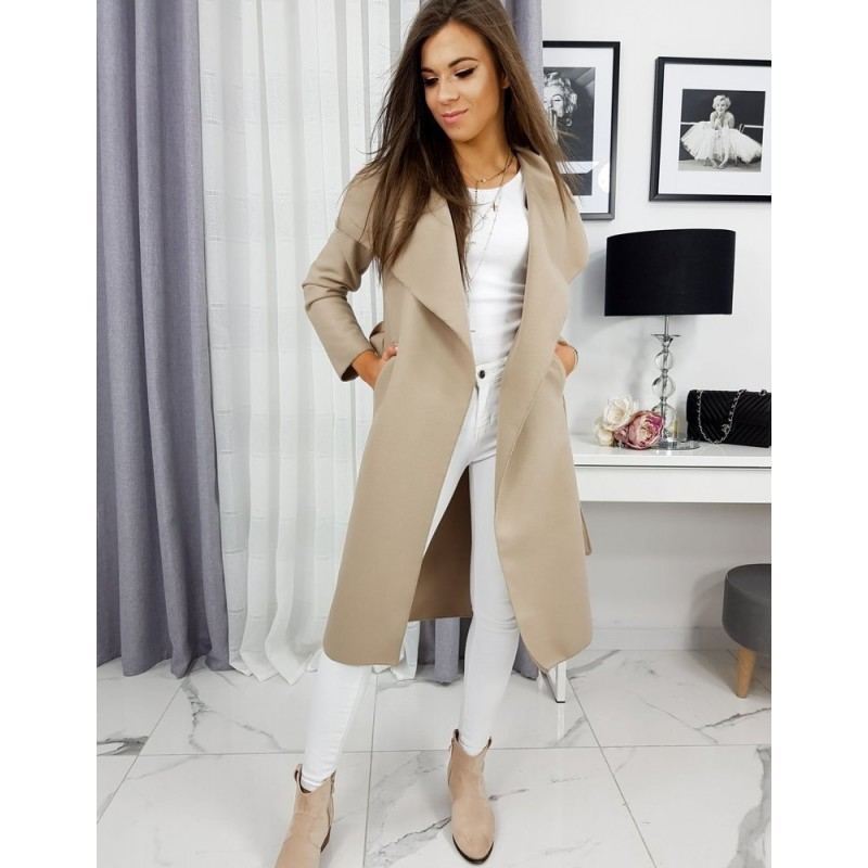 Dámský jarní kabát s vázáním v pase v béžové barvě