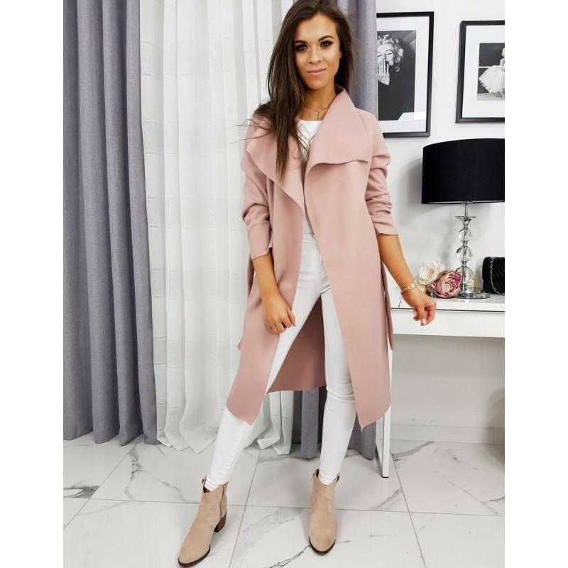 Jarní dámský kabát růžové barvy s vázáním v pase