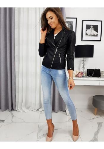 Koženková dámská bunda černé barvy na přechodné období