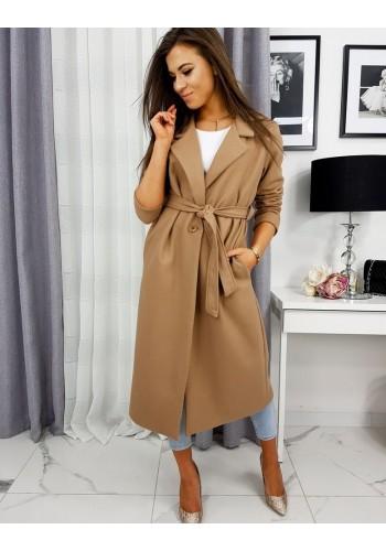 Jarní dámský kabát hnědé barvy s vázáním v pase