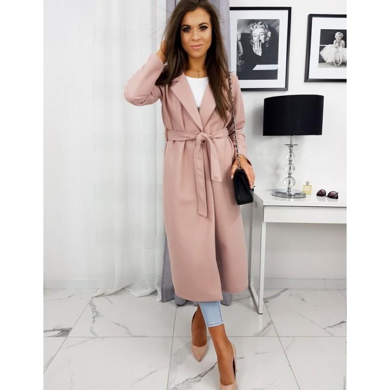 Růžový jarní kabát s vázáním v pase pro dámy