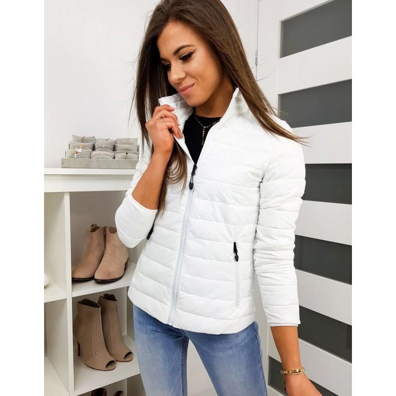 Prošívaná dámská bunda bílé barvy bez kapuce