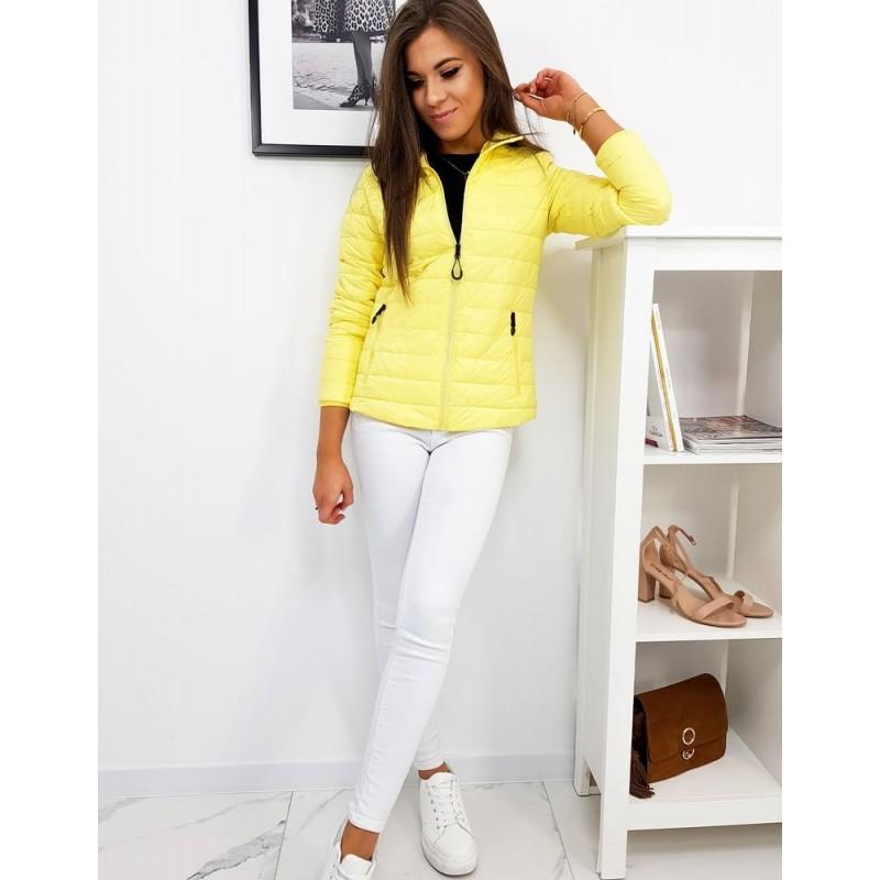 Žlutá prošívaná bunda bez kapuce pro dámy