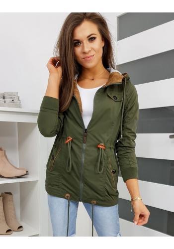 Olivová přechodná bunda s kapucí pro dámy