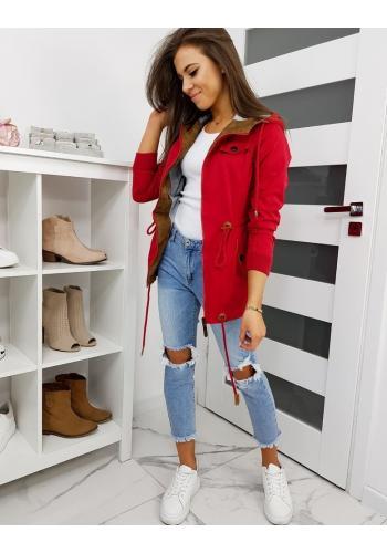 Červená přechodná bunda s kapucí pro dámy