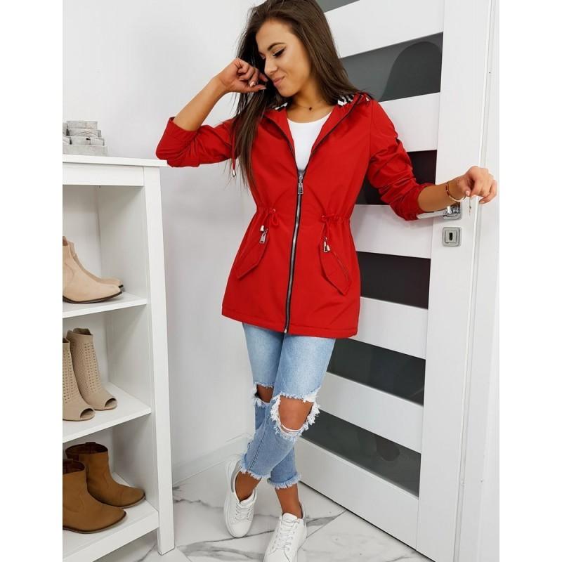Červená přechodná Parka s kapucí pro dámy
