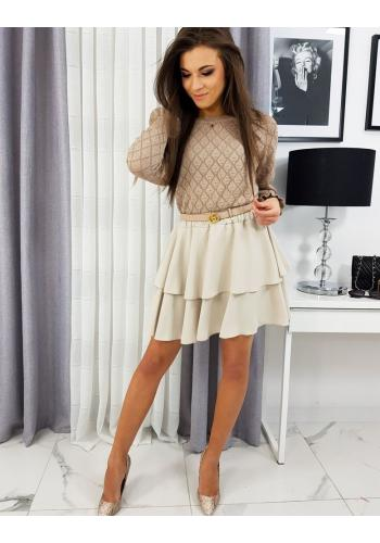 Dámská krátká sukně s volány v béžové barvě