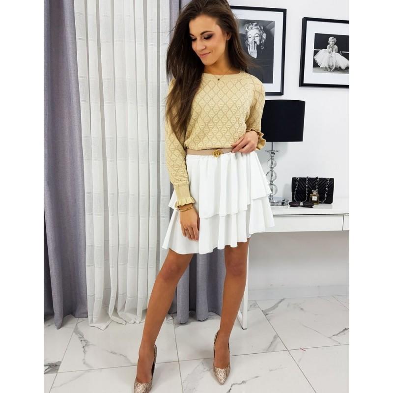 Bílá krátká sukně s volány pro dámy