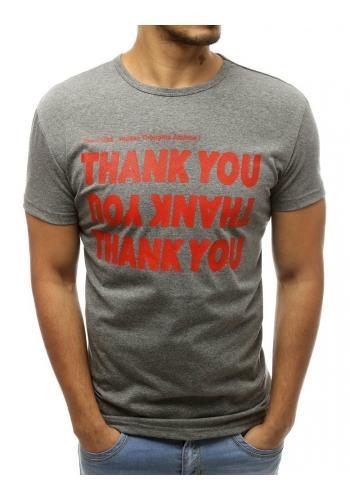 Pánské klasické tričko s nápisem v šedé barvě
