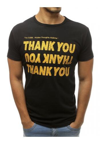 Klasické pánské tričko černé barvy s nápisem