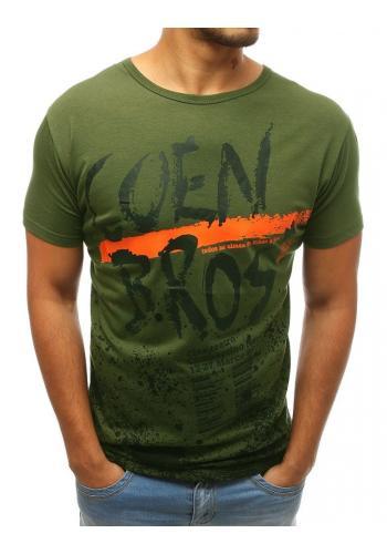 Pánské módní tričko s potiskem v zelené barvě