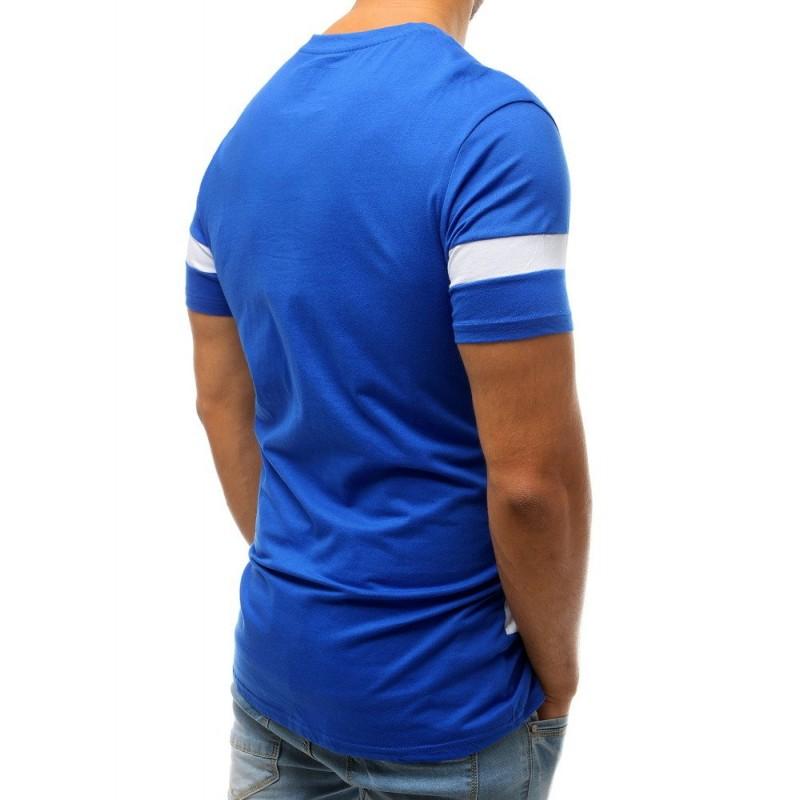 Pánské sportovní tričko s potiskem v modré barvě