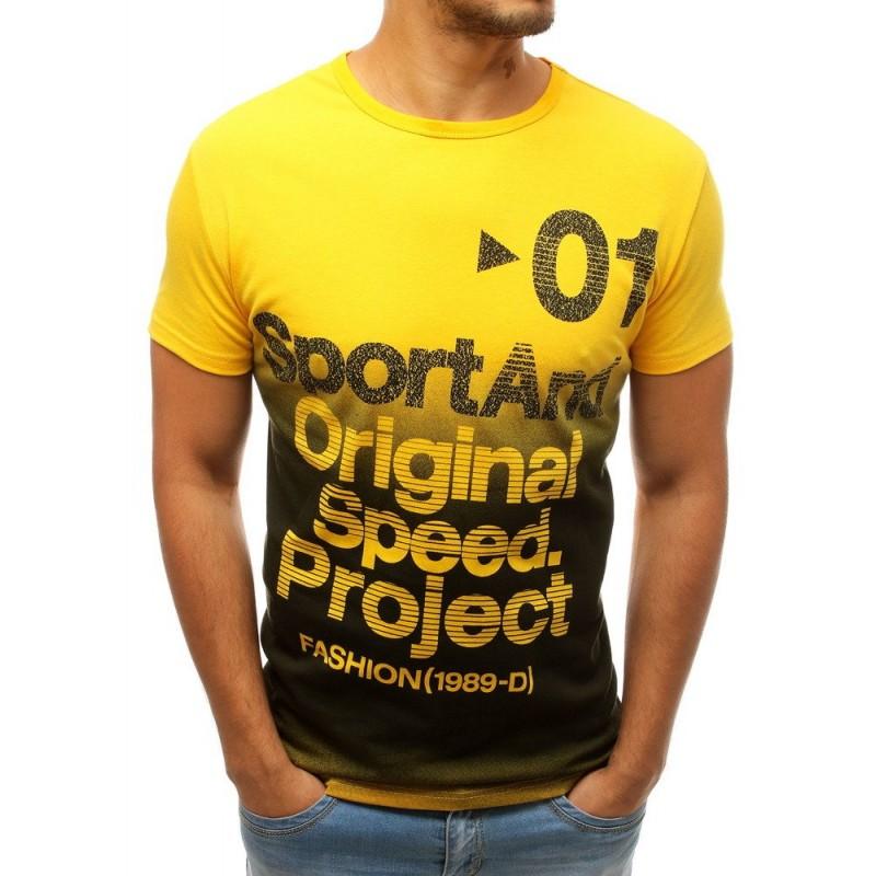 Módní pánské tričko žluté barvy s potiskem