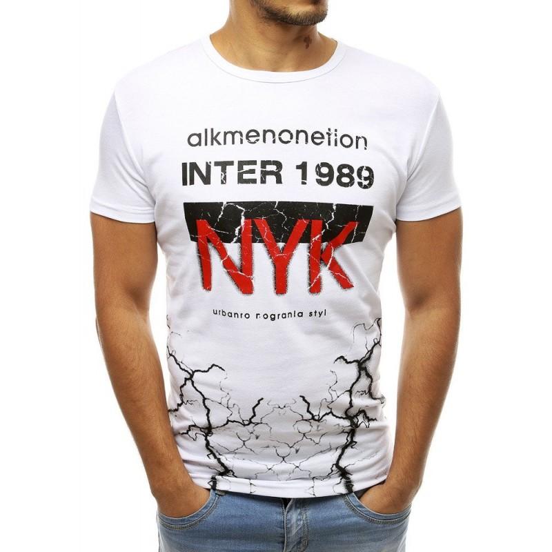 Bílé stylové tričko s potiskem pro pány