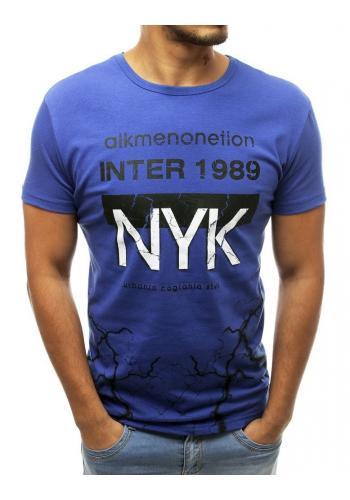 Pánské stylové tričko s potiskem v modré barvě