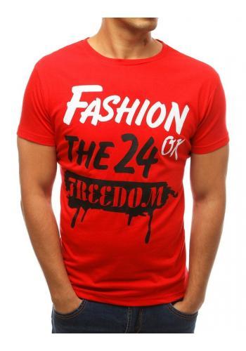 Červené klasické tričko s potiskem pro pány