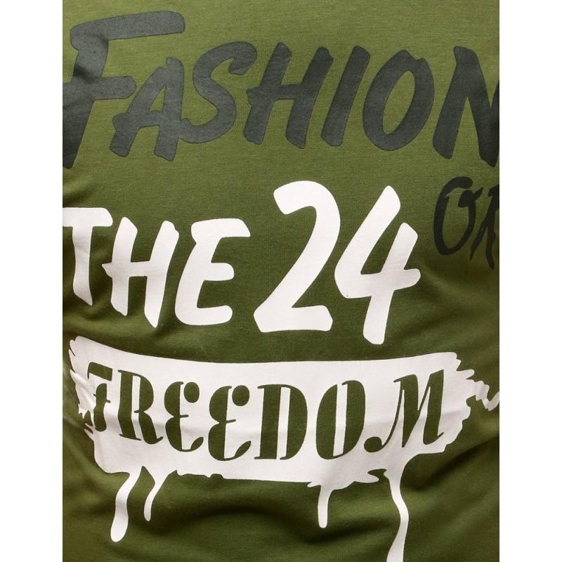 Pánské klasické tričko s potiskem v zelené barvě