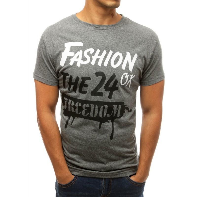 Klasické pánské tričko šedé barvy s potiskem