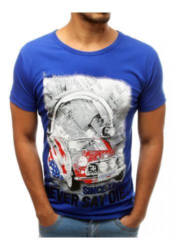 Pánské módní tričko s potiskem v modré barvě