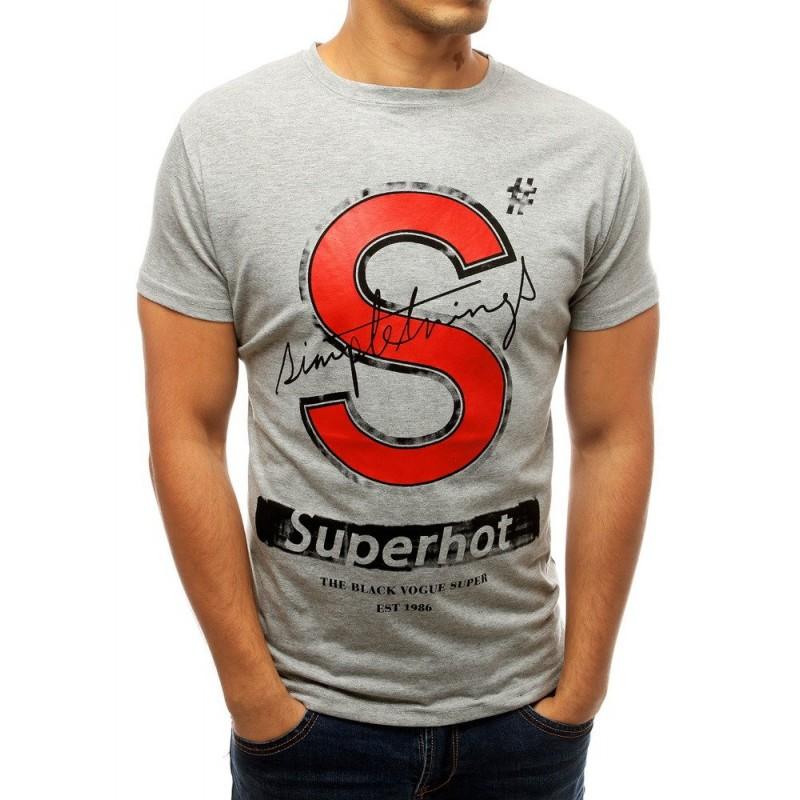 Šedé stylové tričko s potiskem pro pány