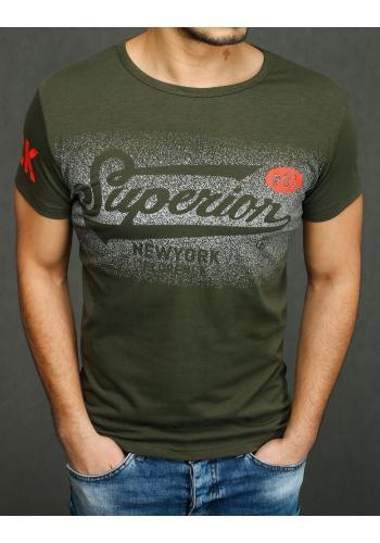Sportovní pánské tričko khaki barvy s potiskem