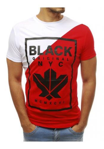 Červeno-bílé stylové tričko s potiskem pro pány