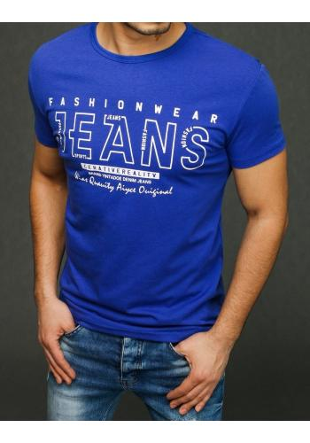 Stylové pánské tričko modré barvy s potiskem