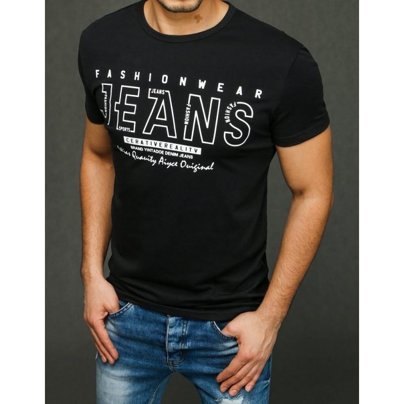 Černé stylové tričko s potiskem pro pány