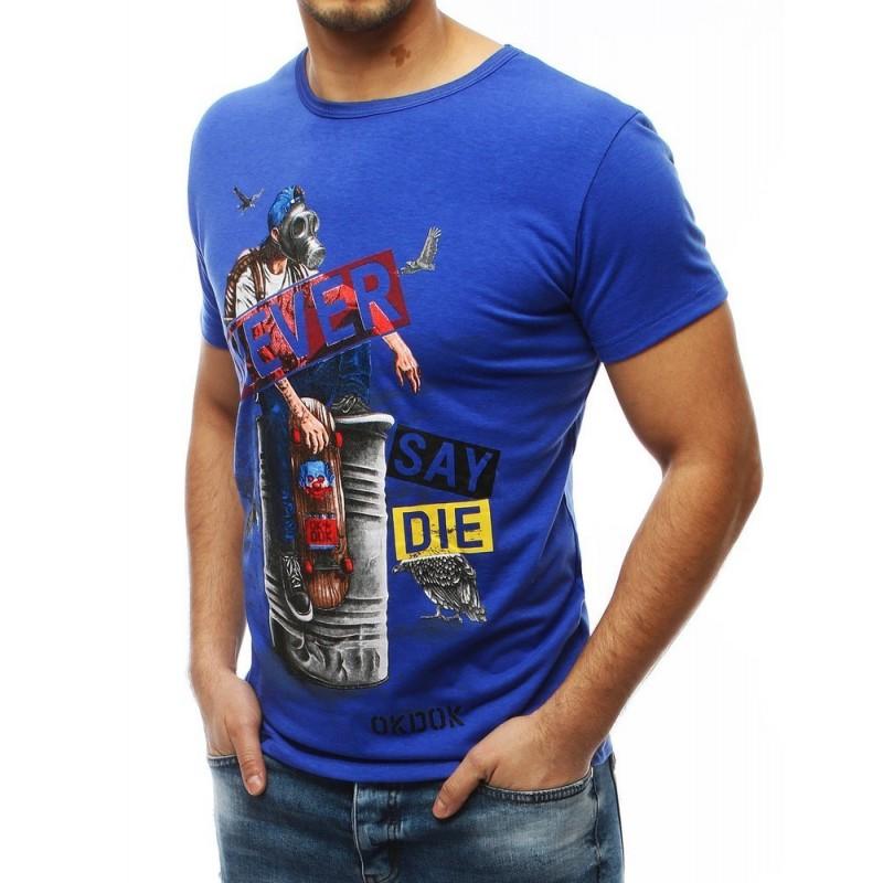 Modré módní tričko s potiskem pro pány