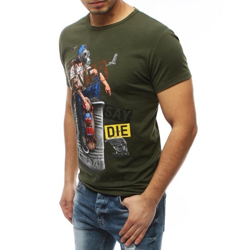 Pánské módní tričko s potiskem v kaki barvě