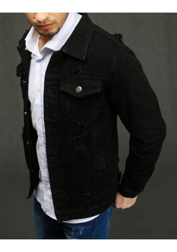 Černá riflová bunda s dírami pro pány