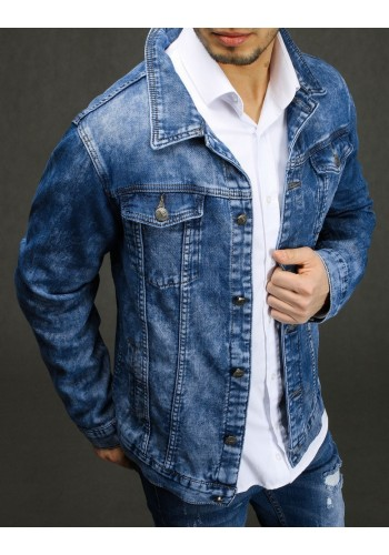 Pánská riflová bunda se zapínáním na knoflíky v modré barvě