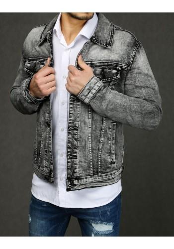 Riflová pánská bunda šedé barvy s potiskem na zádech