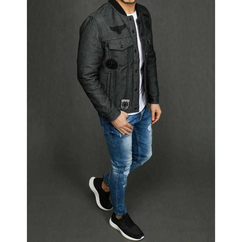 Pánská riflová bunda s nášivkami v šedé barvě