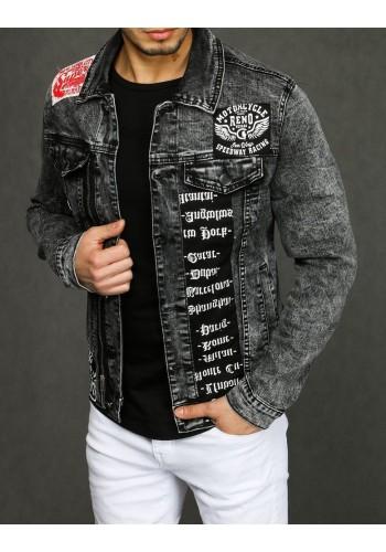 Riflová pánská bunda tmavě šedé barvy s nášivkami s potiskem
