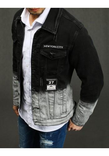 Pánská riflová bunda s nášivkami v černo-šedé barvě