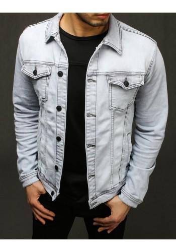 Riflová pánská bunda světle šedé barvy