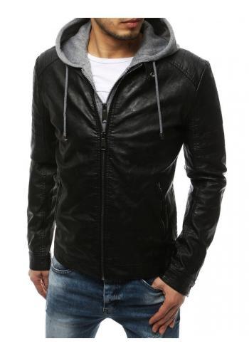 Kožená pánská bunda černé barvy s kapucí