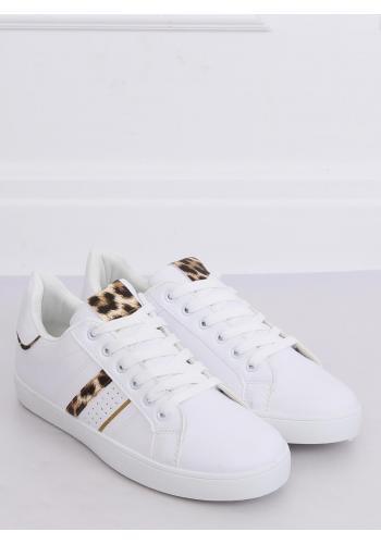 Klasické dámské tenisky bílé barvy s leopardím potiskem ve slevě