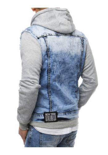 Riflová pánská vesta světle modré barvy s nášivkami