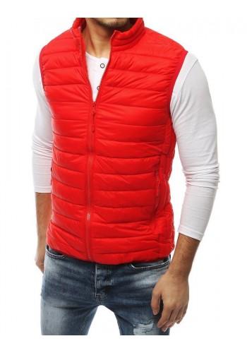 Červená prošívaná vesta bez kapuce pro pány