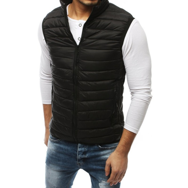 Prošívaná pánská vesta černé barvy bez kapuce