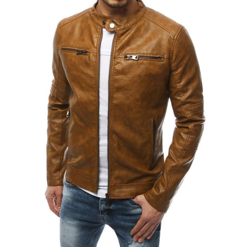 Kožená pánská bunda hnědé barvy na jaro